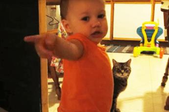Друзья не верили, что его малышка разговаривает с кошкой. Отец снял этот ролик