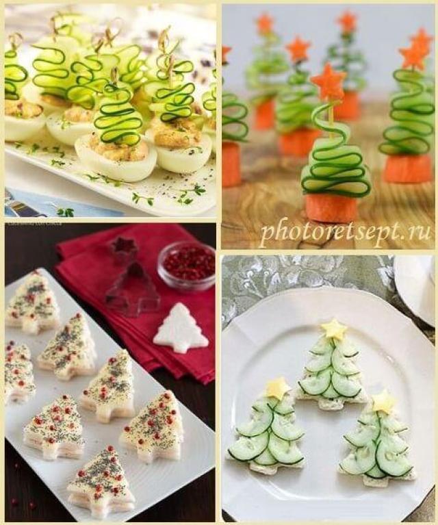 5 вариантов оригинального оформления салатов на новогодний стол