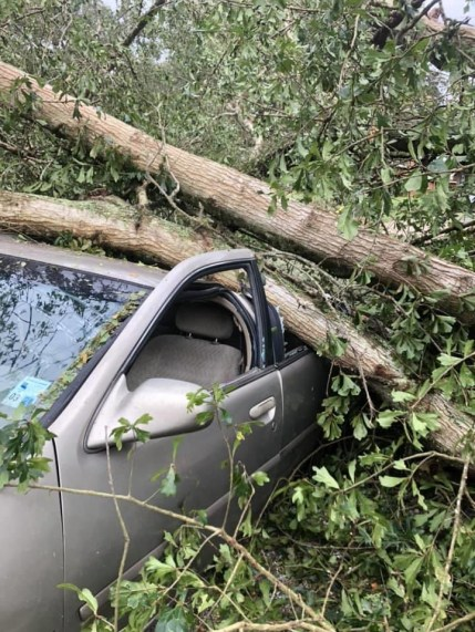 A car destroyed by the hurricane.