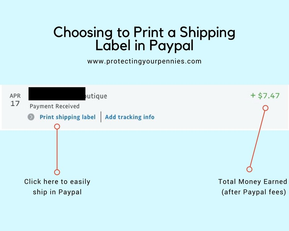 Choosing to print a shipping label in paypal