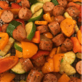 Grilled Vegetables in Grill Basket with Chicken Sausage