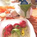 Oatmeal Sensory Bin with Apples Cinnamon