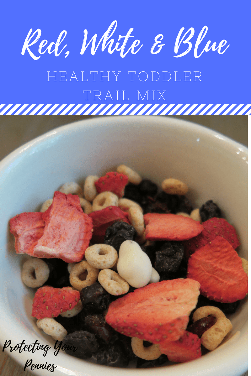 red, white and blue toddler trail mix