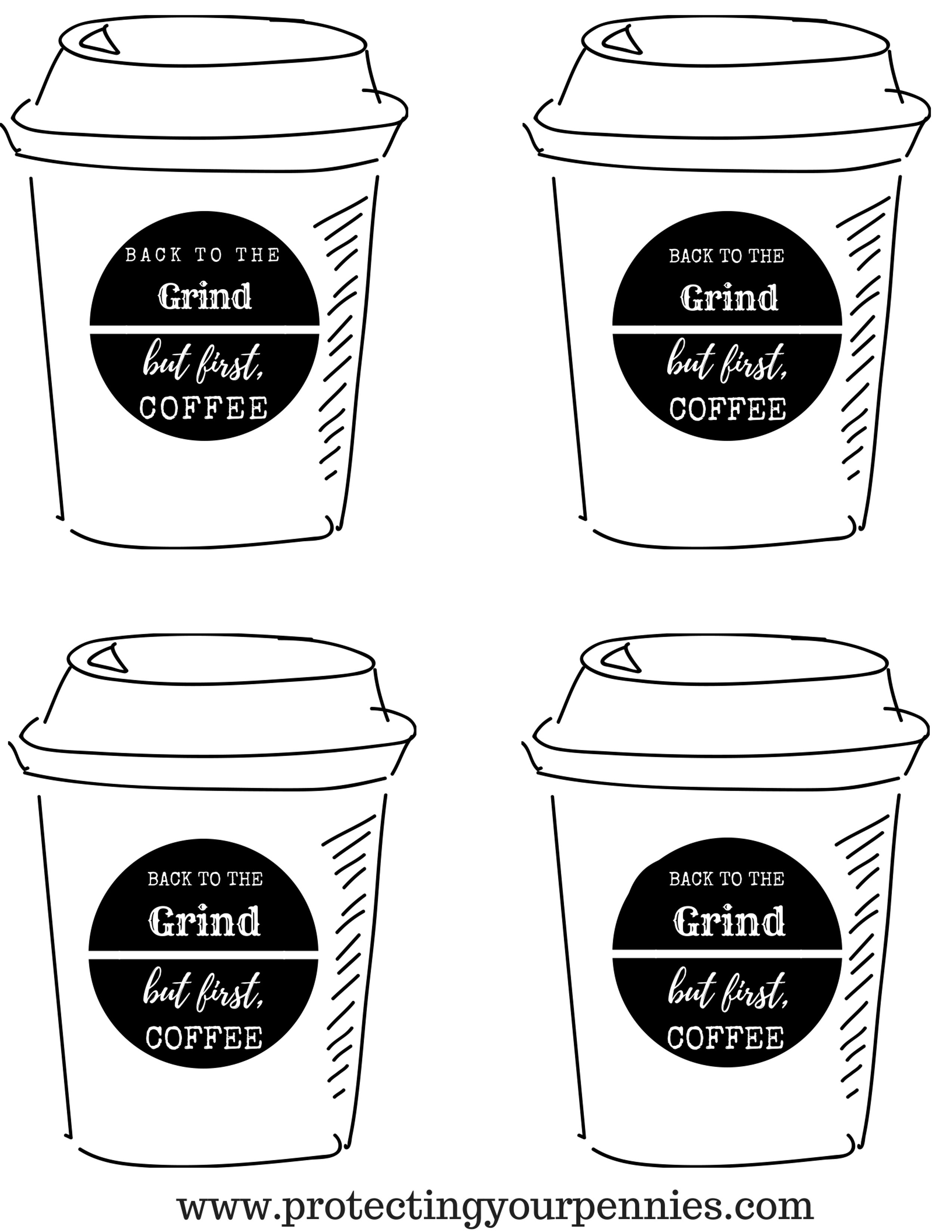 image regarding But First Coffee Free Printable called Back again Toward The Grind Trainer Reward With Cost-free Printable