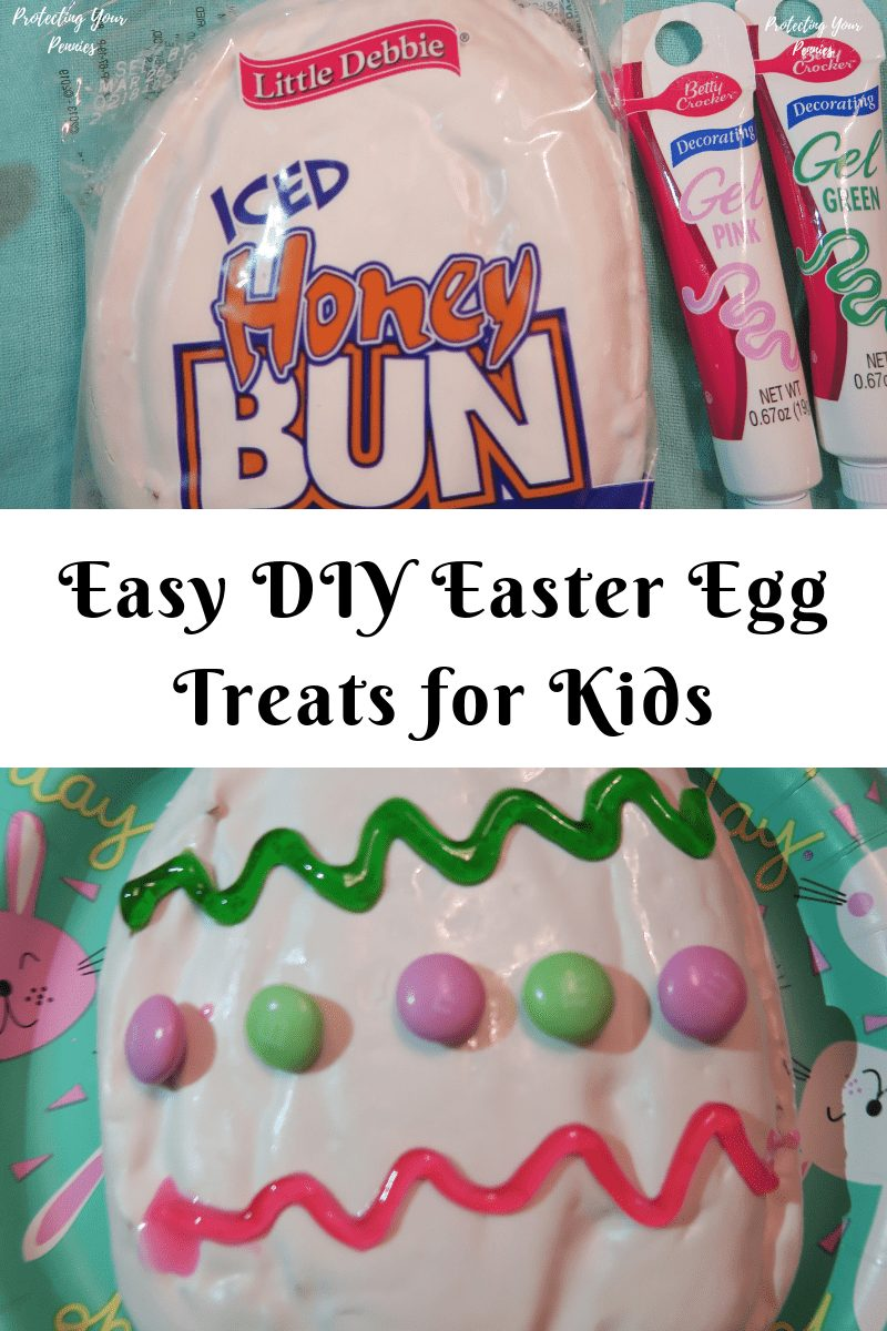 Easy DIY Easter Egg Treats for Kids to make using store bought iced honey buns. Create a cute Easter treat for dessert with a no bake and easy project.