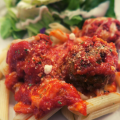 Low Carb Parmesan Meatballs Served with Dreamfields Pasta