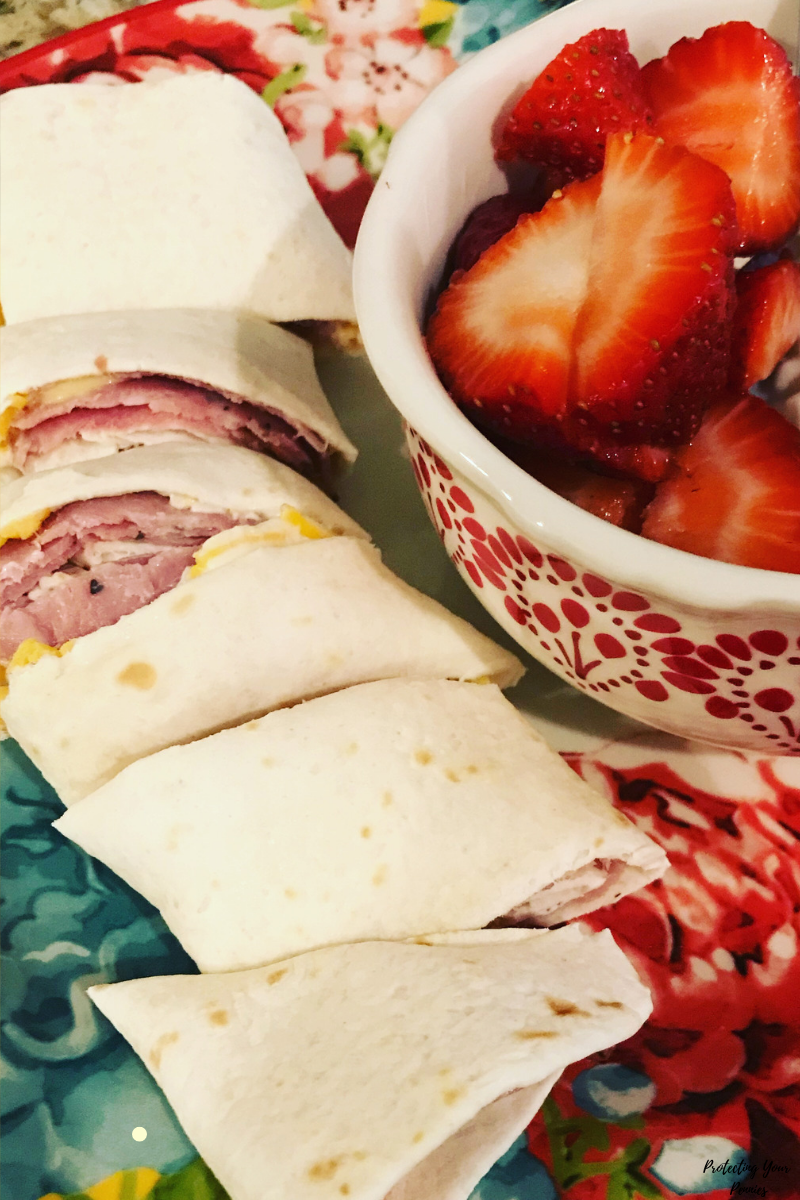 Pastrami Cheese and Mustard Wrap with Strawberries on Low Carb Mission Tortilla