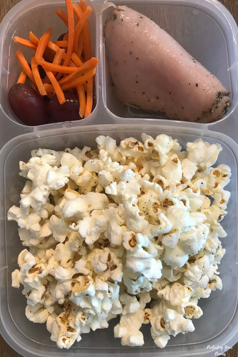 Skinny Pop Lean Turkey Carrots and Grapes