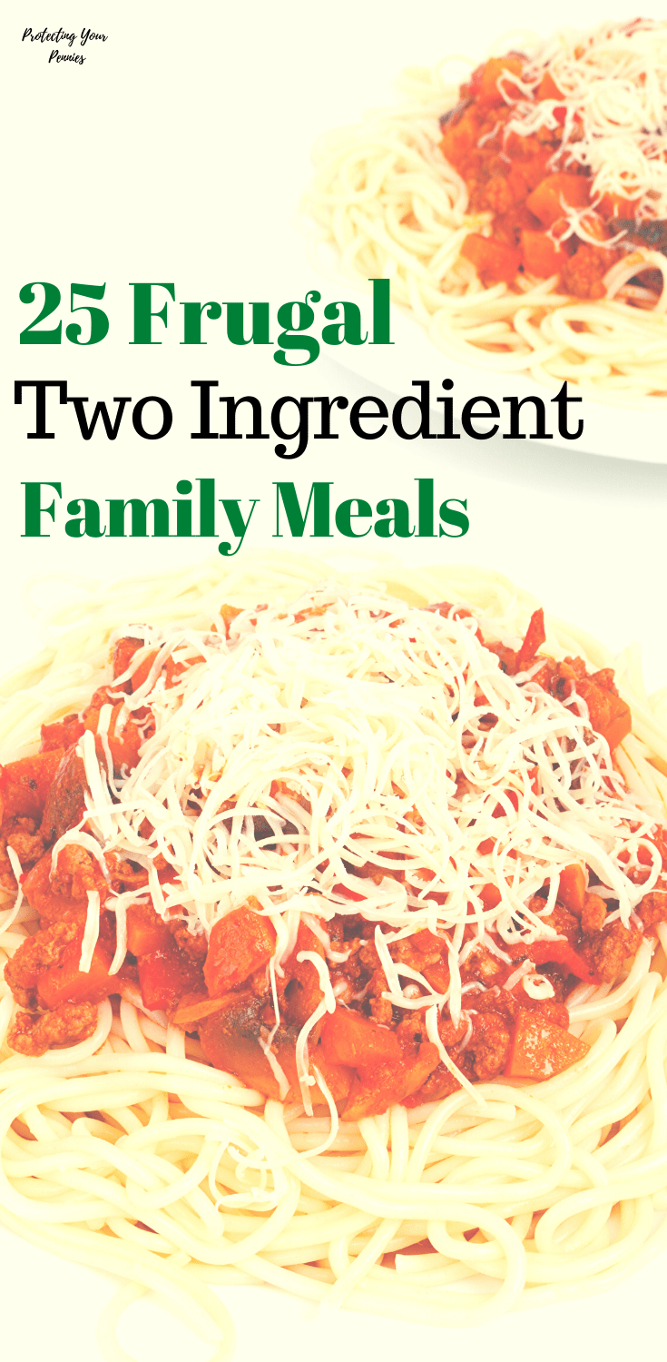 25 Easy and Frugal  2 ingredient meals to feed your family.