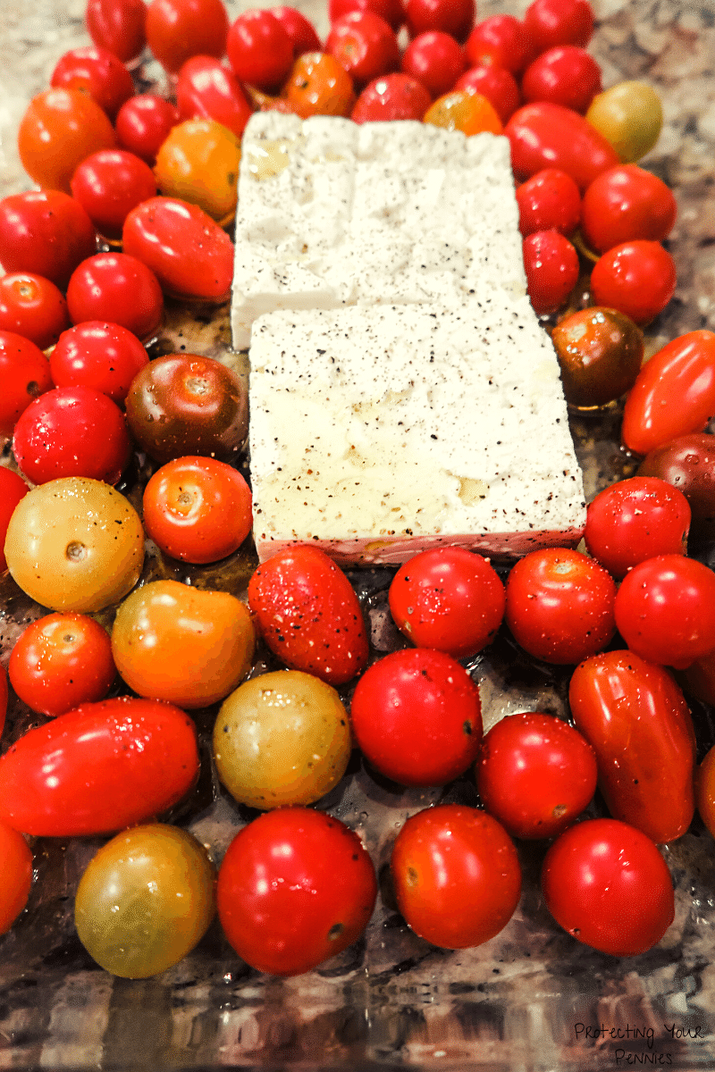 Unbaked Feta and Cherry Tomatoes with Olive OIl