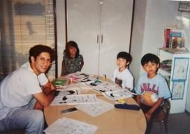 Michael Toben teaching English to japanese children.