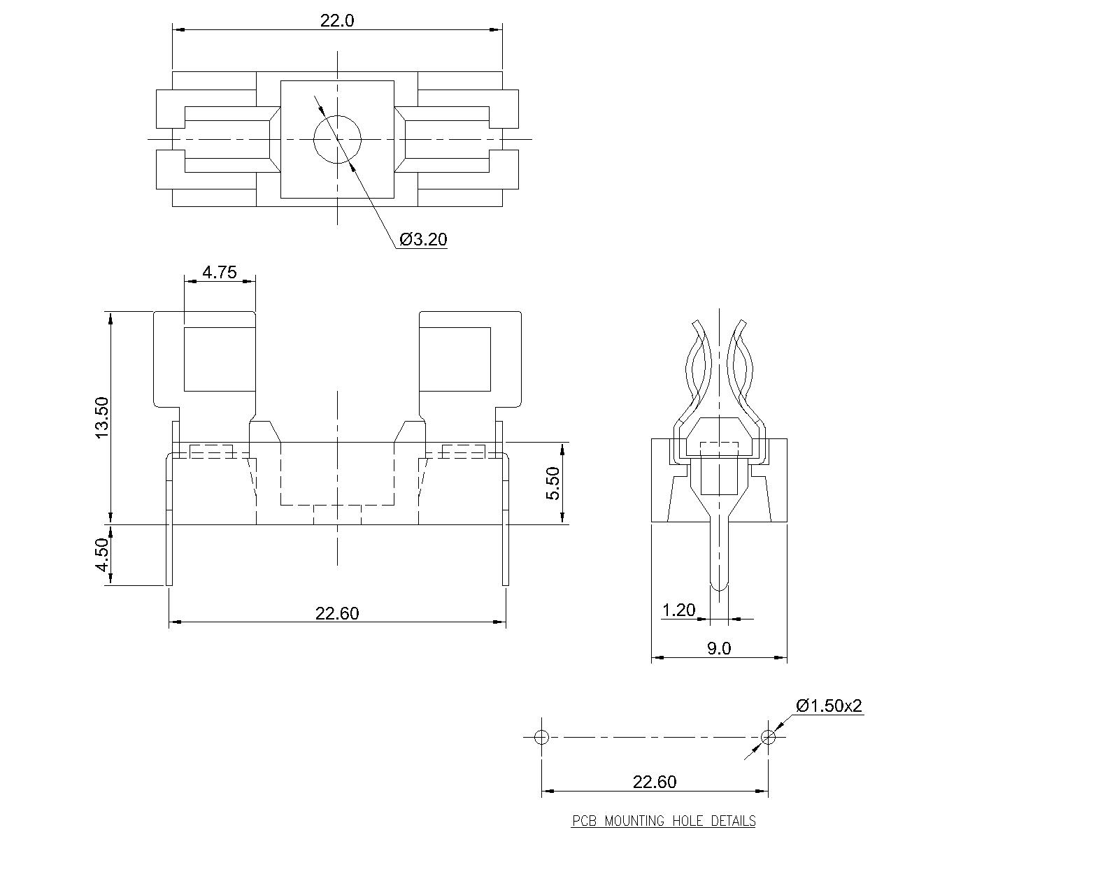 P 03 Pcb Mount Fuse Block For 5 2 X 20mm Fuses