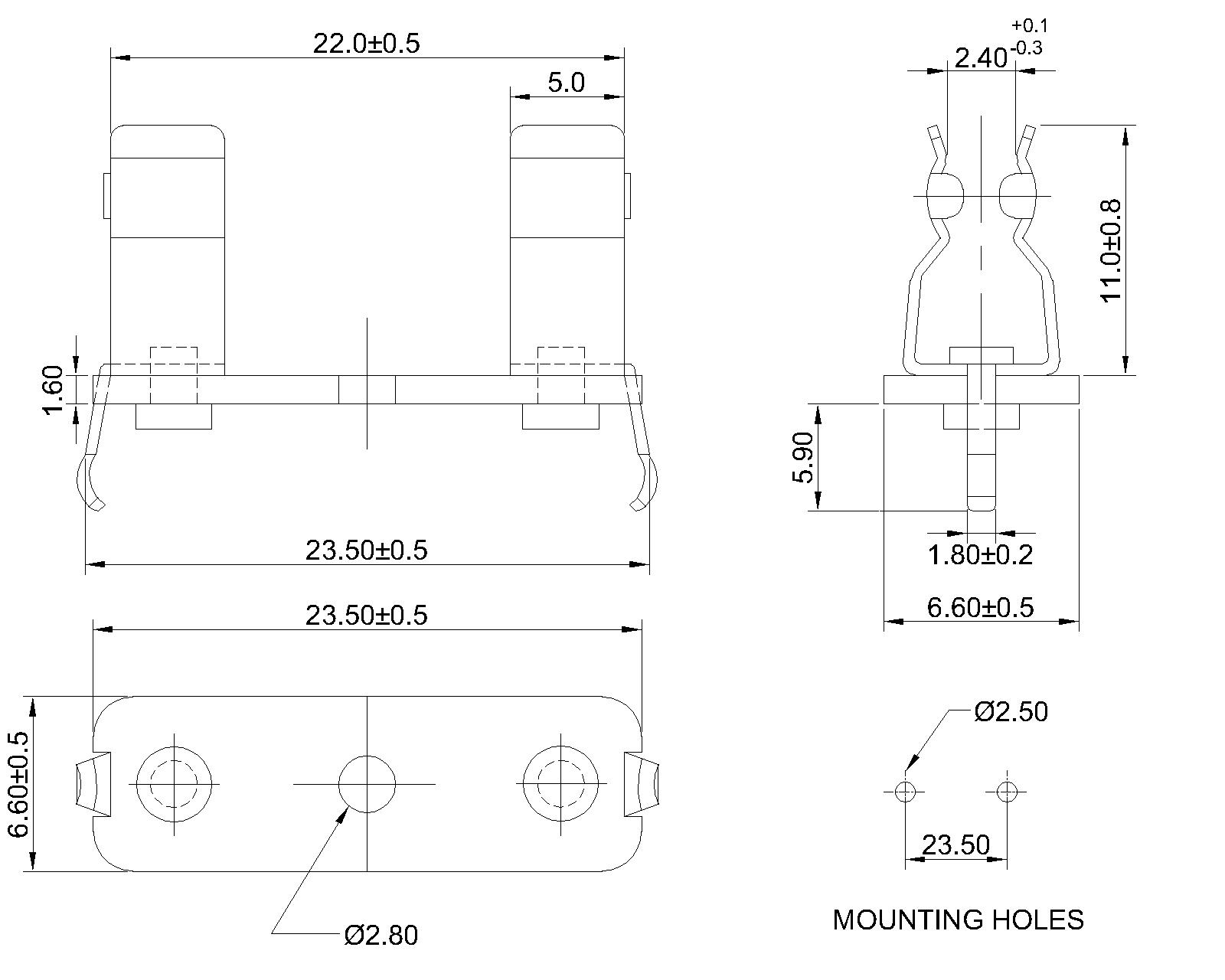 P 04 Pcb Mount Fuse Block For 5 2 X 20mm Fuses