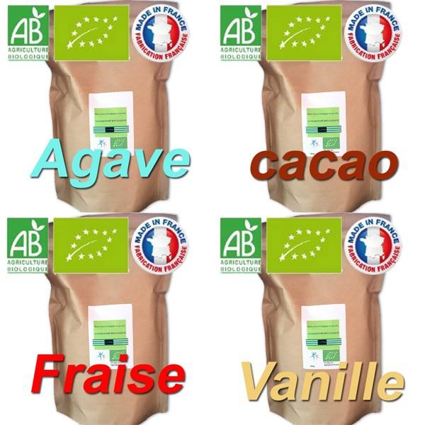 poudre de protéine de blanc d'œuf à la fraise, au cacao, à la vanille et au sirop d'agave