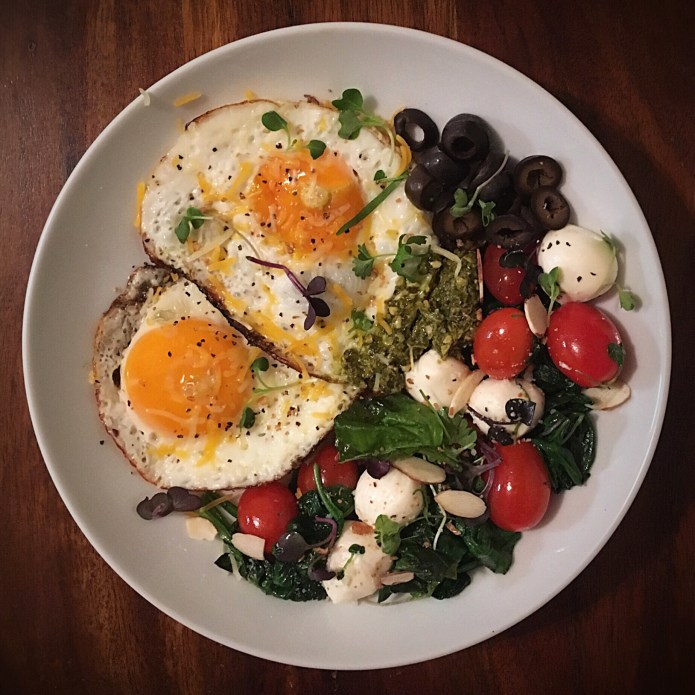 Eggs, Tomato, Mozzarella, Spinach, Olive, Pesto Salad