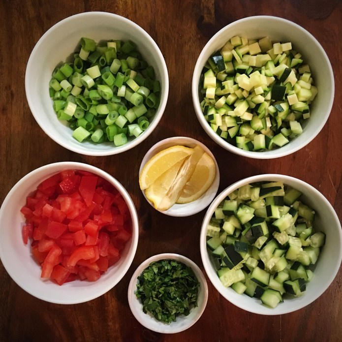 Mise en Place Knife Skills, with Cucumber, Zucchini, Tomato, Green Onion, Cilantro, and Lemon
