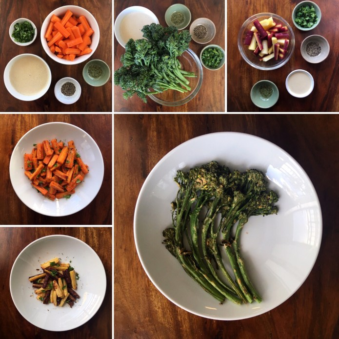 Roasted Carrots and Broccolini in a Lemon Tahini Dressing