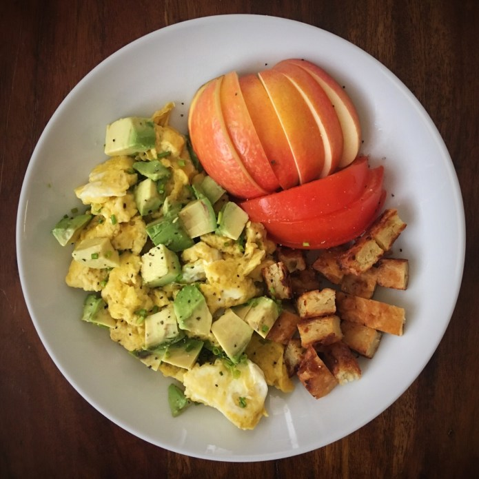 Getting better at chopping, slicing, and dicing; Breakfast of Apple, Tomato, Potato Latke, Eggs, and Avocado