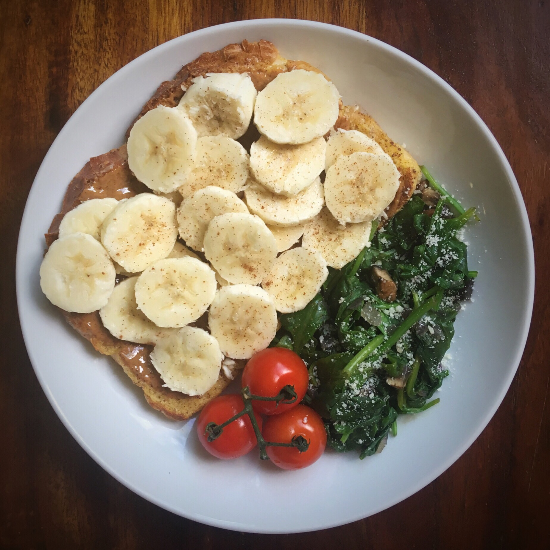 Banana and Almond Butter French Toast with Sautéed Spinach Salad and Tomatoes