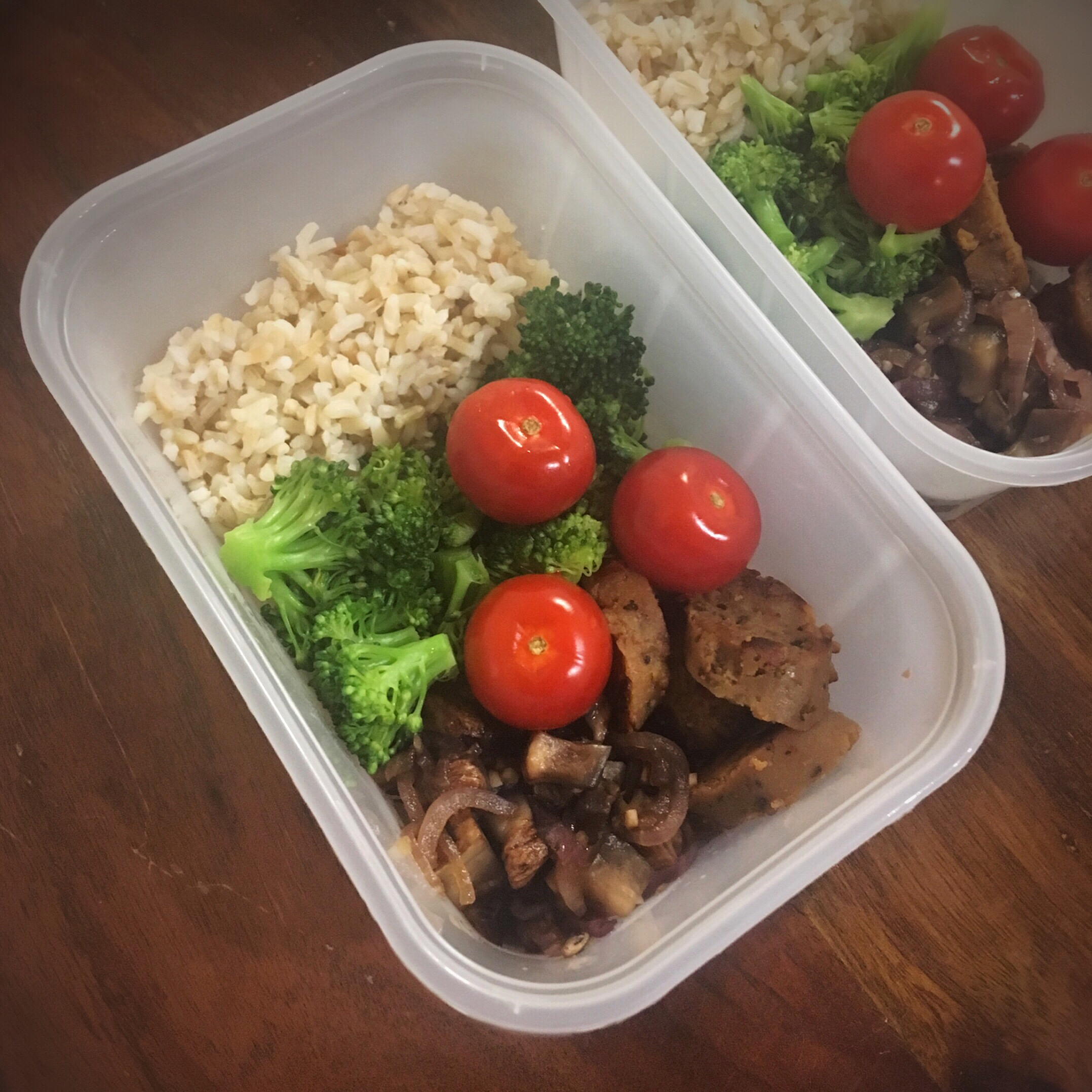 Free Meal Prep! Vegan Sausage, Mushrooms, Onions, Broccoli, Tomatoes, and Brown Rice (to go).