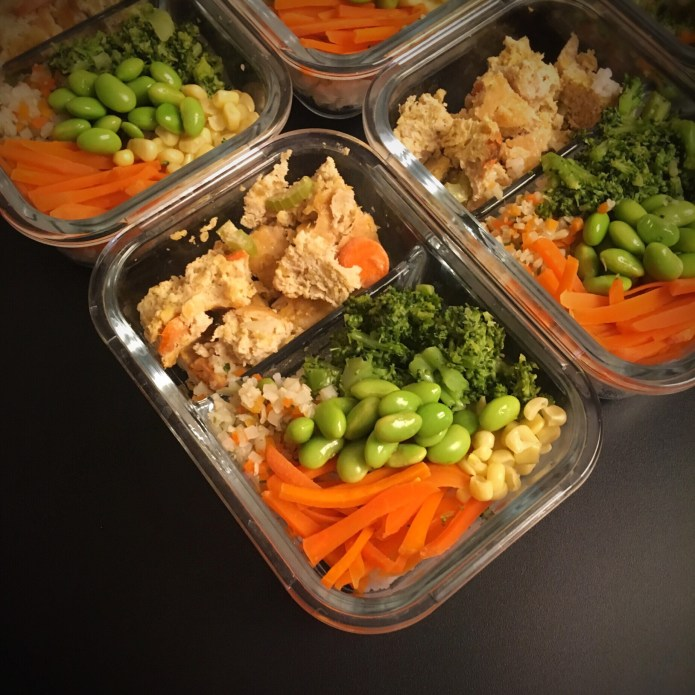 Veggies and Meatloaf: Cauliflower Rice with Corn, Carrots, Broccoli, and Edamame, and a Turkey Meatloaf (cut in to small bites, like a child) Meal Prep.