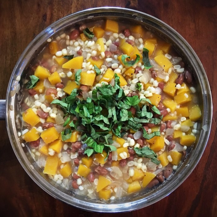 Summer Stew (Recipe includes Butternut Squash, Pinto Beans, Corn, Salt, Pepper, Garlic, and Onions)