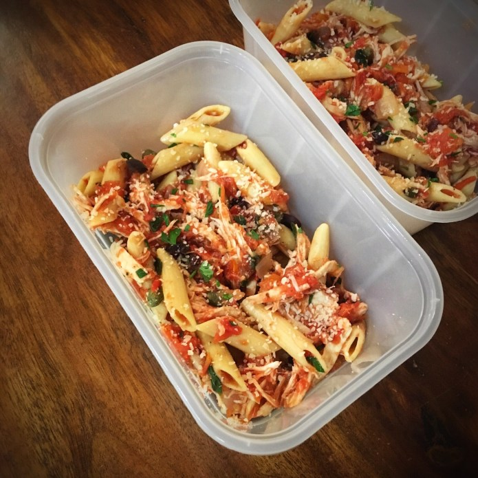 Chickepea Penne Puttanesca con Pollo (To Go)