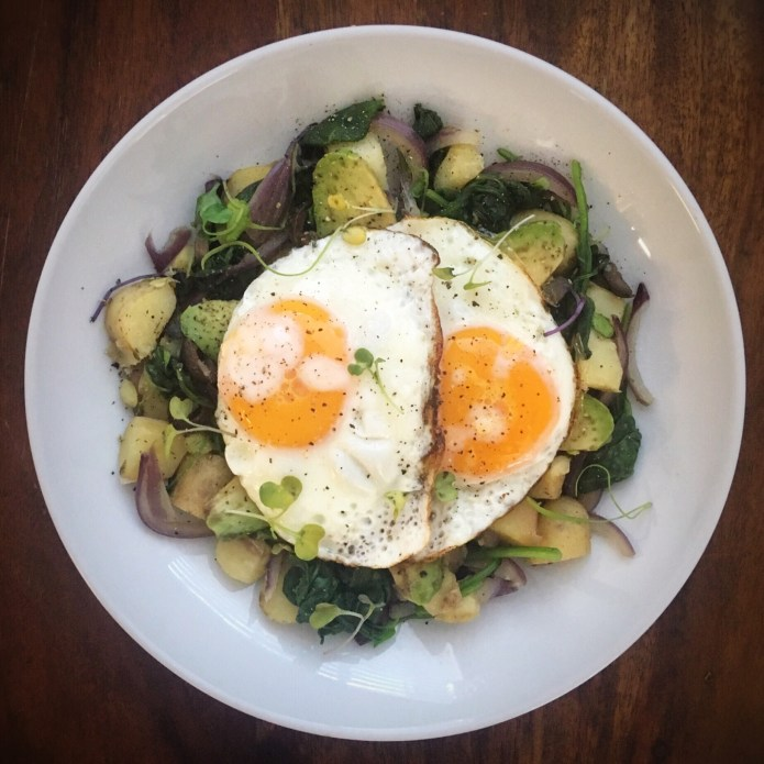Breakfast ADED: Eggs, Spinach, Potatoes, Red Onion, Microgreens, and Avocado