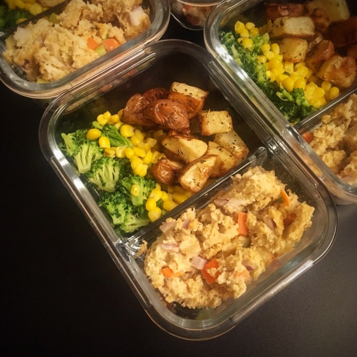 Chicken Meatloaf Meal Prep with Broccoli, Corn, and Potatoes
