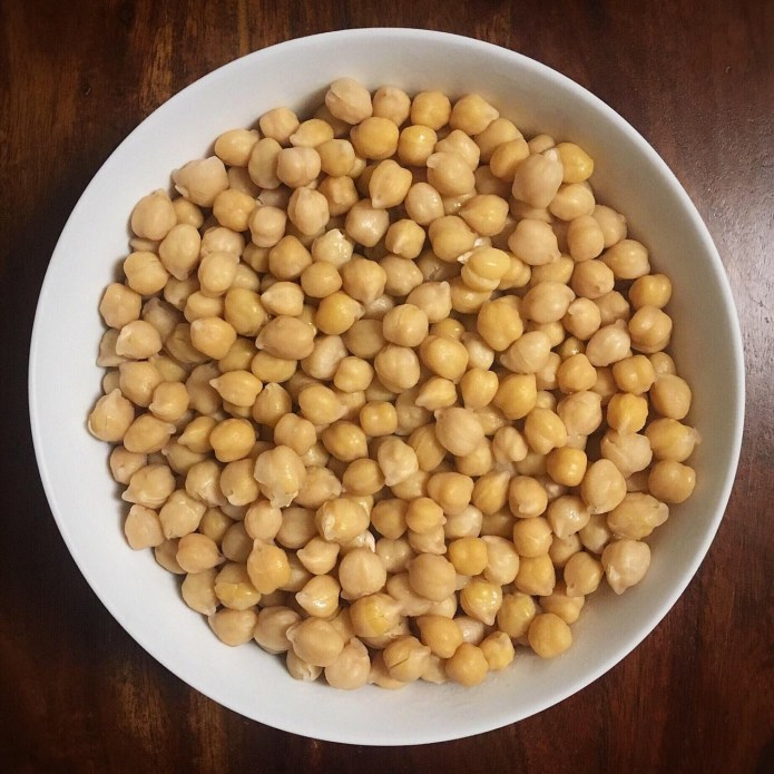 Bowl of soaked chickpeas (wet)