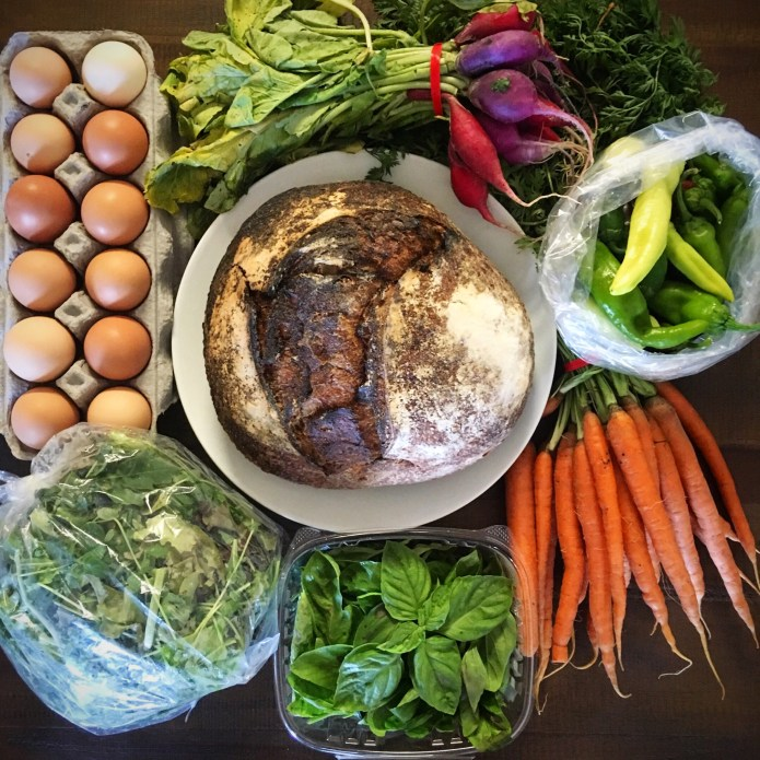 CSA Box Number 4: Eggs, Radishes, Pepper, Carrots, Basil, Mixed Greens and Sourdough Bread