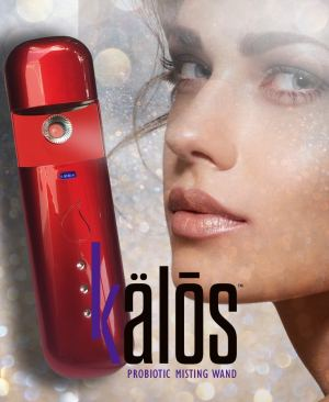 Image of a Kalos wand misting a beautiful woman's face with a sparkling background and the kalos logo