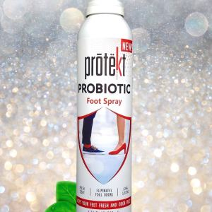 Protekt Probiotic Foot Spray 200 milliliter image of product with sparkling background and green dewy leaves
