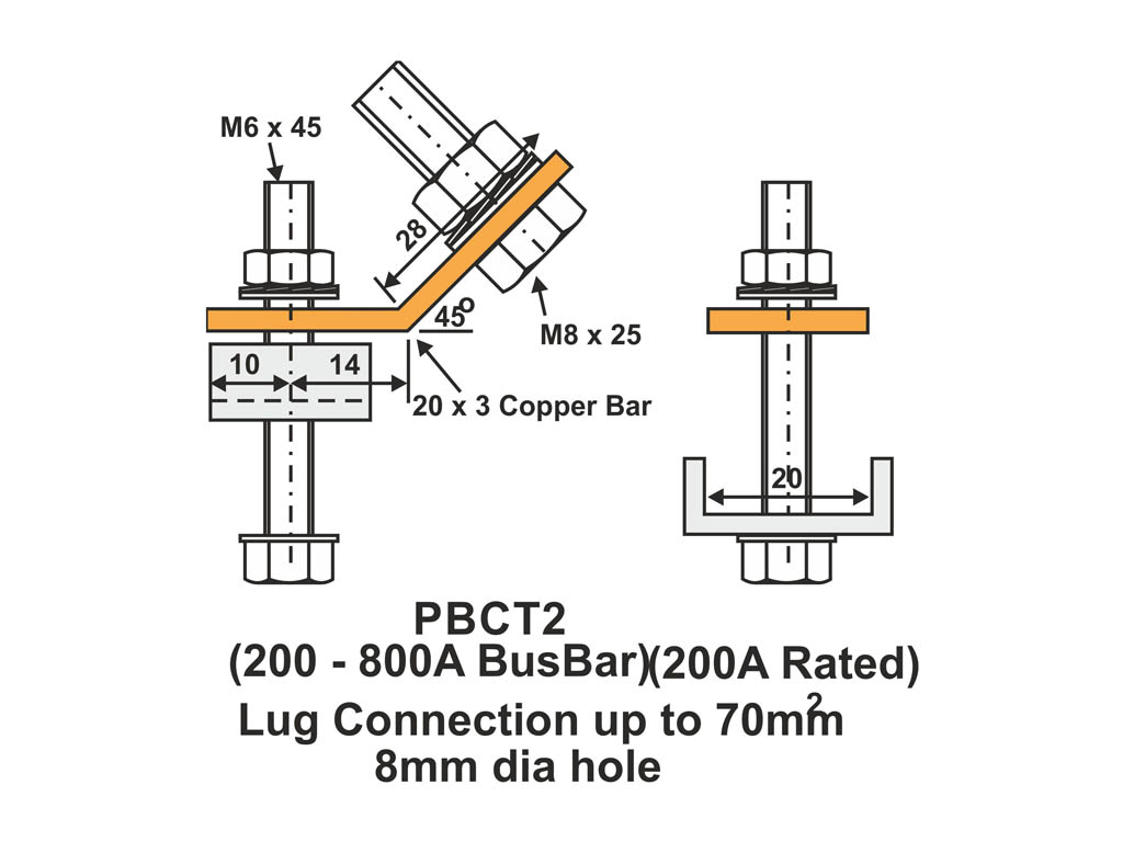 70mm2 Max Lug Terminal Busbar Clamps For Use With 200a Busbar Chambers