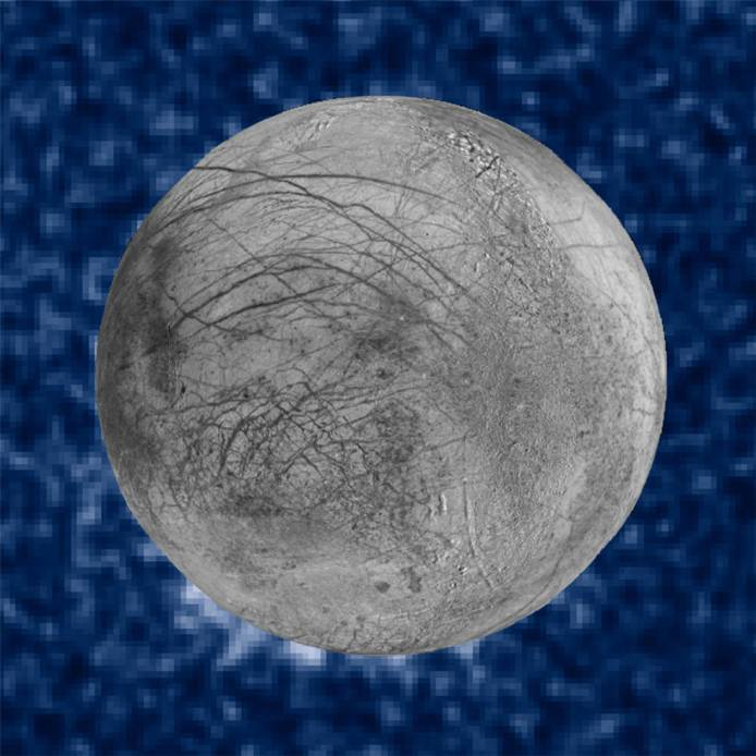 A composite image of Europa shows plumes of water vapor.