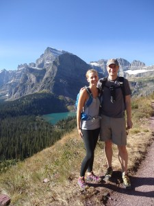 Claire and her husband, Grant, hiking in Glacier National Park, Montana