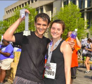 Here we have Caitlin with her fiancée, at the Indianapolis Mini Marathon from this past May