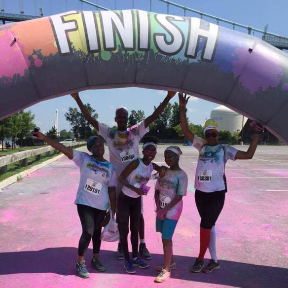 Here is Jody-Ann at the Graffiti Run on July 19th in Camden, NJ. In this picture Jody-Ann is on the far right in the colored socks, with her husband, Ainsworth, and friends Katiya, Fara and Shamena.