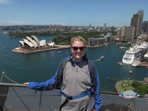 Here's Jana, on her most recent vacation to Australia, where she climbed over the top of the Sydney Harbour Bridge!