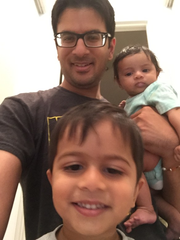 Pictured above is a selfie of Nirav with his son Rayan and daughter Anika