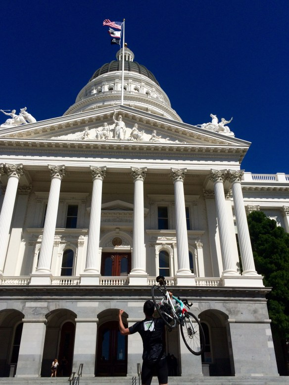 Pictured above is Thankie Victory at the State Capitol after riding 110 miles
