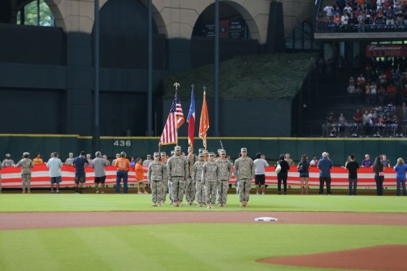 Pictured above is Tanya for the Casing Ceremony at the Houston Astros Stadium