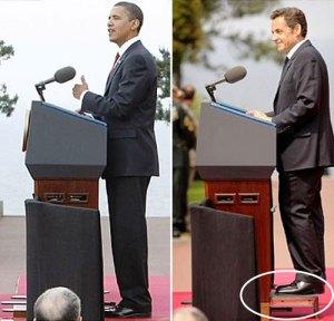Presidentes Obama y Sarkozy ante un mismo atril