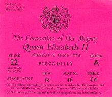 Entrada para ver la Coronación de Isabel II