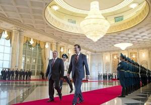 Rajoy y el presidente kazajo, Nursultan Nazarbayev, en el palacio de la Independencia.Diego Crespo Efe
