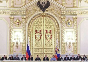 Russia's President Vladimir Putin chairs a session of the State Council at the Kremlin in Moscow