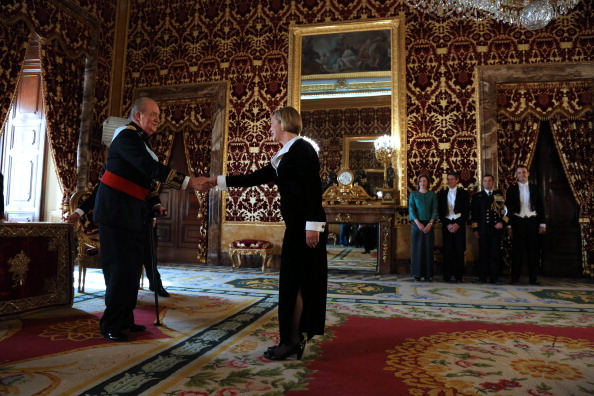 King Juan Carlos Receives Ambassadors At Royal Palace
