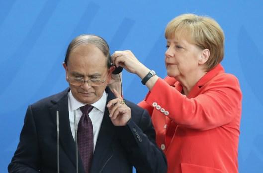 Merkel y el Presidente de Myanmar