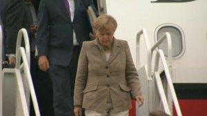 Angela Merkel arriving Cardiff