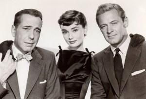 """Audrey Hepburn, Humphrey Bogart and William Holden in """"Sabrina"""""""